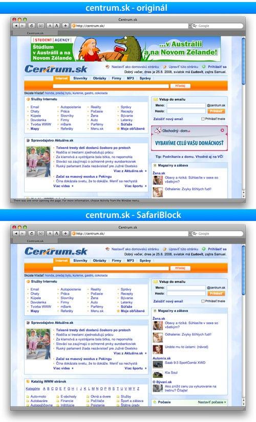 SafariBlock, Safari Block, safari, internet, reklama, centrum, centrum.sk