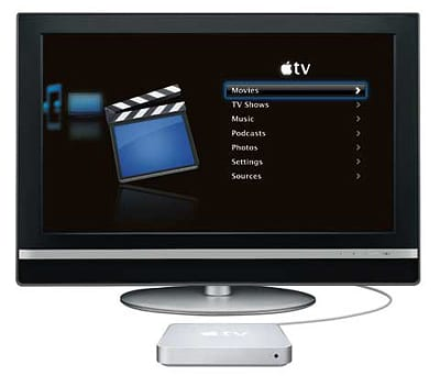 Apple TV s LCD televízorom a ovládacím prostredím