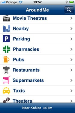 AroundMe aplikácia pre iPhone