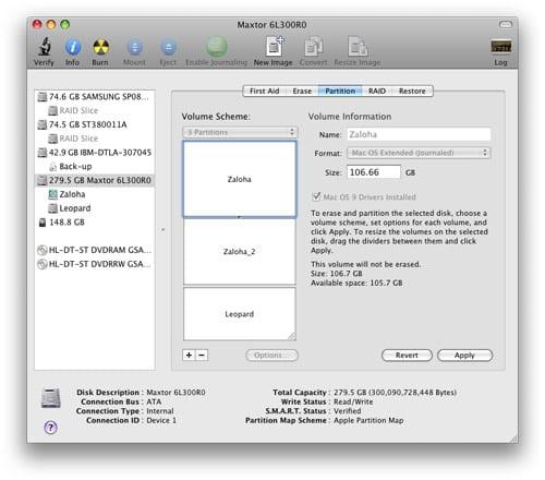 Disk Utility Mac OS X Leopard