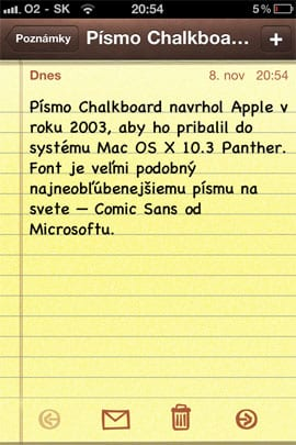 Nové fonty v poznámkach v iOS 4.2