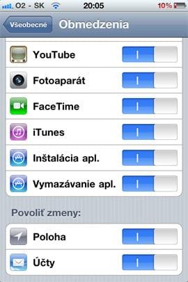 Obmedzenia v iOS 4.2