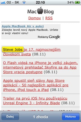 Vyhľadávanie v Safari v iOS 4.2
