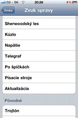Zvonenia pre SMS v iOS 4.2