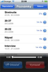 Aplikácia Diktafón vo firmwari 3.0