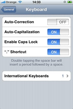 iPhone Auto-correction on/off