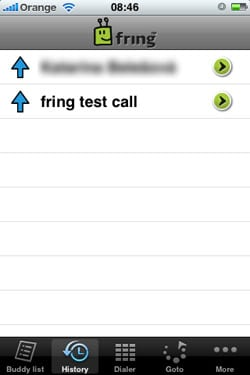 VoIP pre iPhone iPod touch Fring