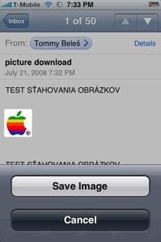 iPhone uloženie obrázku z Mailu