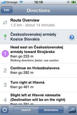 Pešia navigácia iPhone