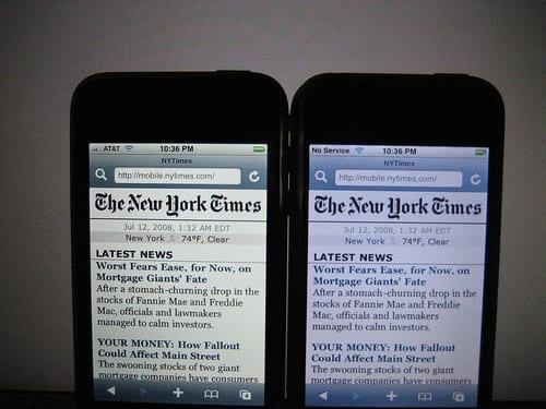 Zmena teploty farieb iPhone 3G