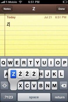 iPhone diakritika