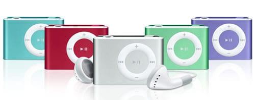iPod shuffle (červené prevedenie nie je dostupné ani na Slovensku, ani v Čechách.