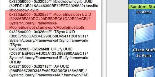 Chyba iPodu touch zahŕňa informácie o Bluetooth.