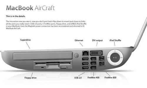 MacBook AirCraft porty z boku