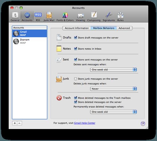 Mail.app Gmail IMAP Nastavenia