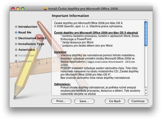 Office 2008 Quentin ceske doplnky, cestina