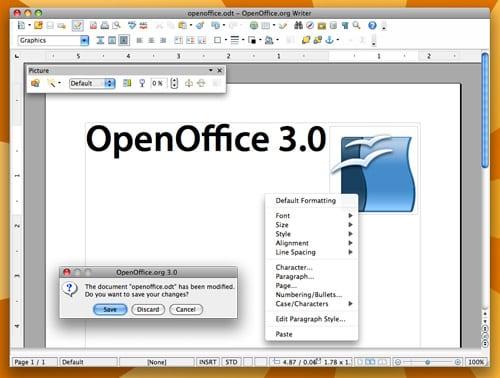 OpenOffice 3.0 grafické užívateľské rozhranie