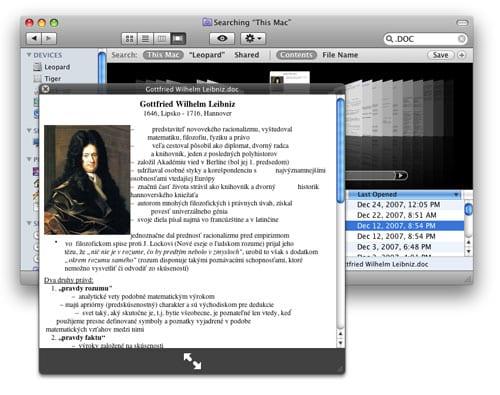 Finder QuickLook Mac OS X Leopard