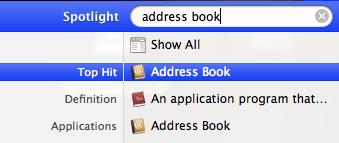 Spotlight vyhľadávanie, aplikácie