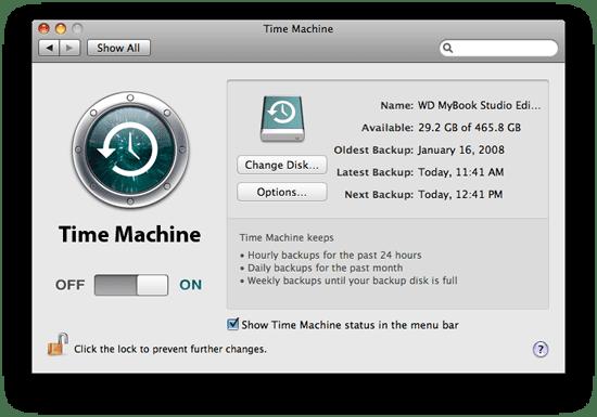 Time Machine Settings