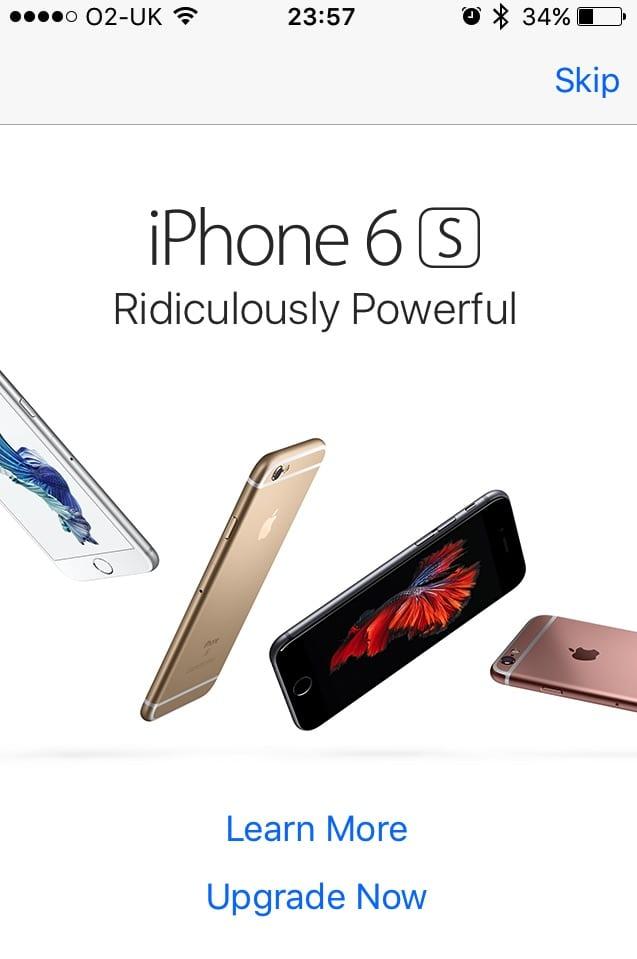 """reklama iPhone 6s - Apple zaplavil užívateľov iPhonov reklamami """"Upgrade Now"""""""