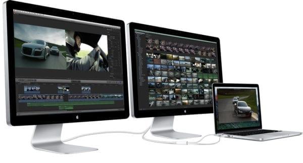 pripojiť dva monitory k MacBook Pro
