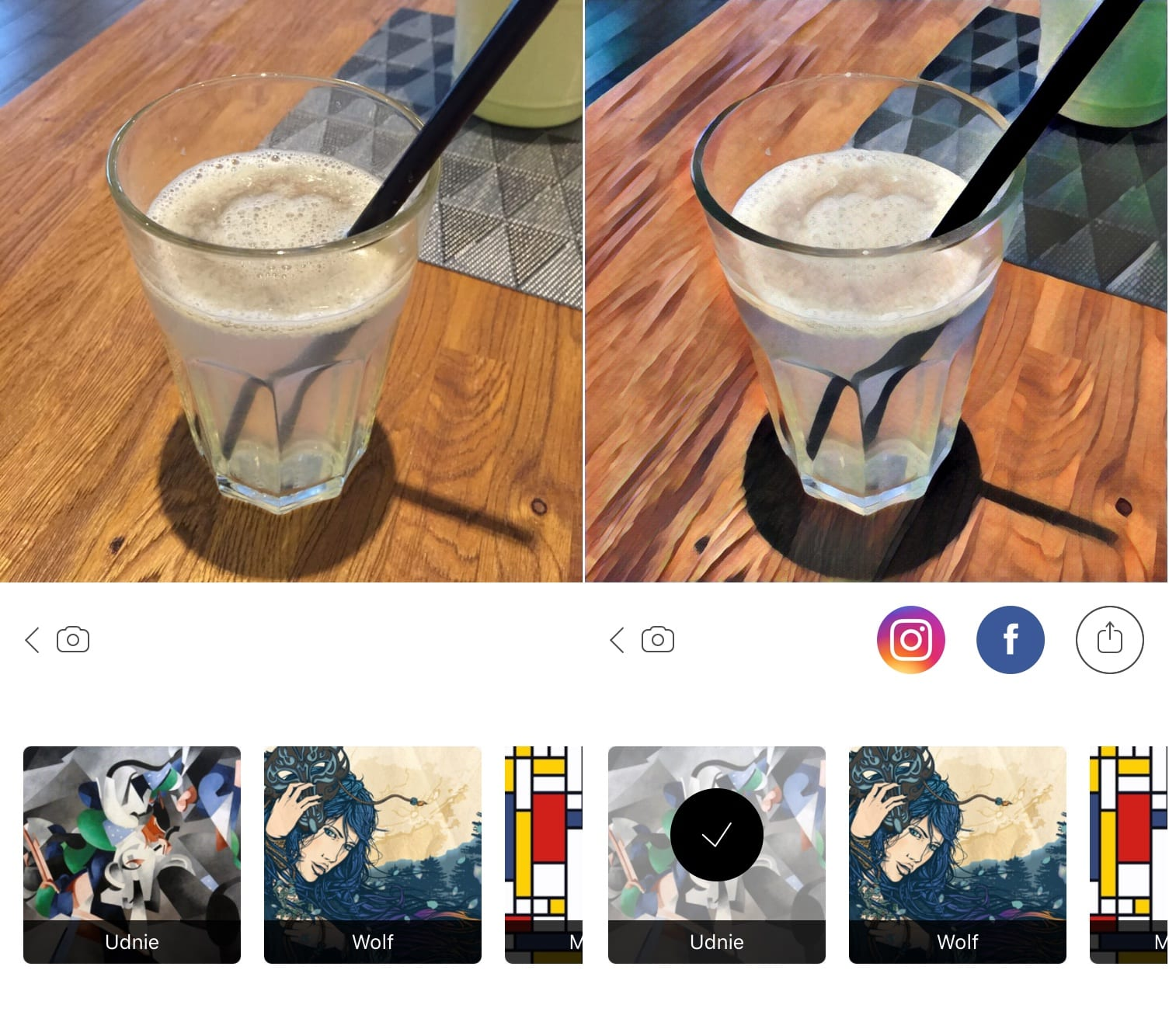Fotka pred a po aplikovaní Prisma filtra.