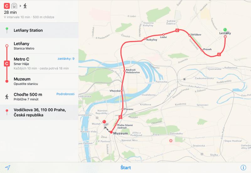 apple mapy praha2 800x550 - Apple Maps dostali podporu pre verejnú dopravu v Prahe