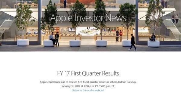 Apple financne vysledky 1Q17 600x309 - Apple oznámil, kedy oznámi finančné výsledky za 1. kvartál fiškálneho roku 2017