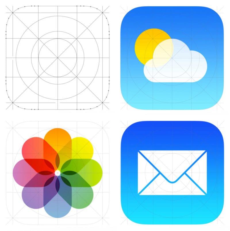 ios7 02 icons grid 800x802 - Ako tvar ikoniek v iOS súvisí s industriálnym dizajnom produktov