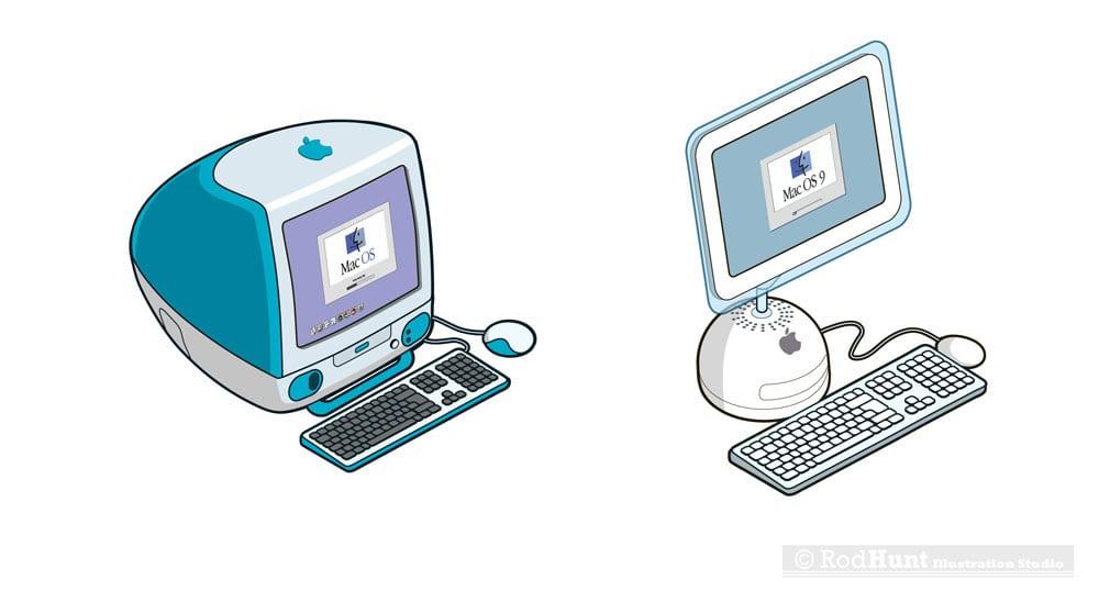 macformat imac stickers1 - Retro ilustrácie klasických Apple počítačov