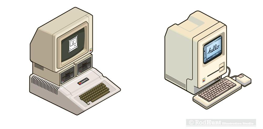 macformat macintosh stickers - Retro ilustrácie klasických Apple počítačov