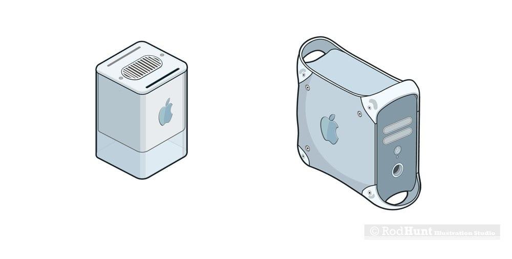 macformat power mac stickers - Retro ilustrácie klasických Apple počítačov