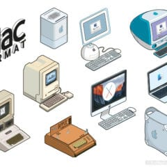 macformat mac apple stickers 240x240 - Retro ilustrácie klasických Apple počítačov