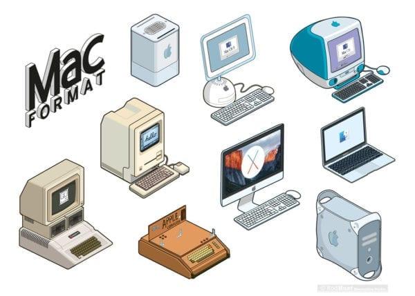 macformat mac apple stickers 600x429 - Retro ilustrácie klasických Apple počítačov
