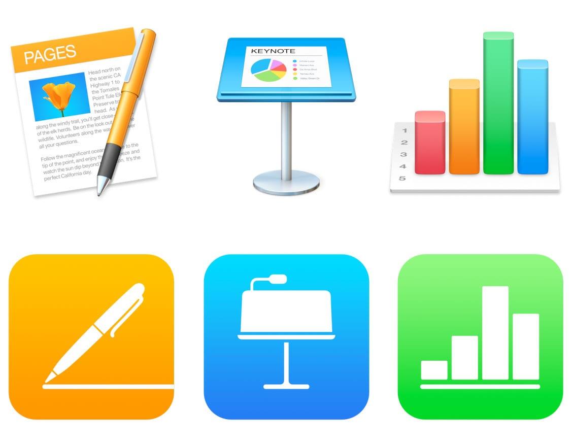pages numbers keynote iwork icons - iMovie, GarageBand a sada iWork pre Mac a iOS sú odteraz zadarmo pre všetkých