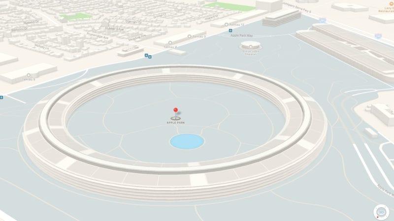 apple park maps 3d 800x449 - Nové video ukazuje již skoro hotové práce na Apple Parku