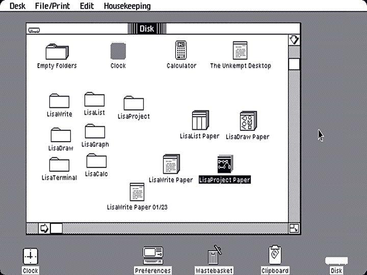 Apple Lisa OS interface