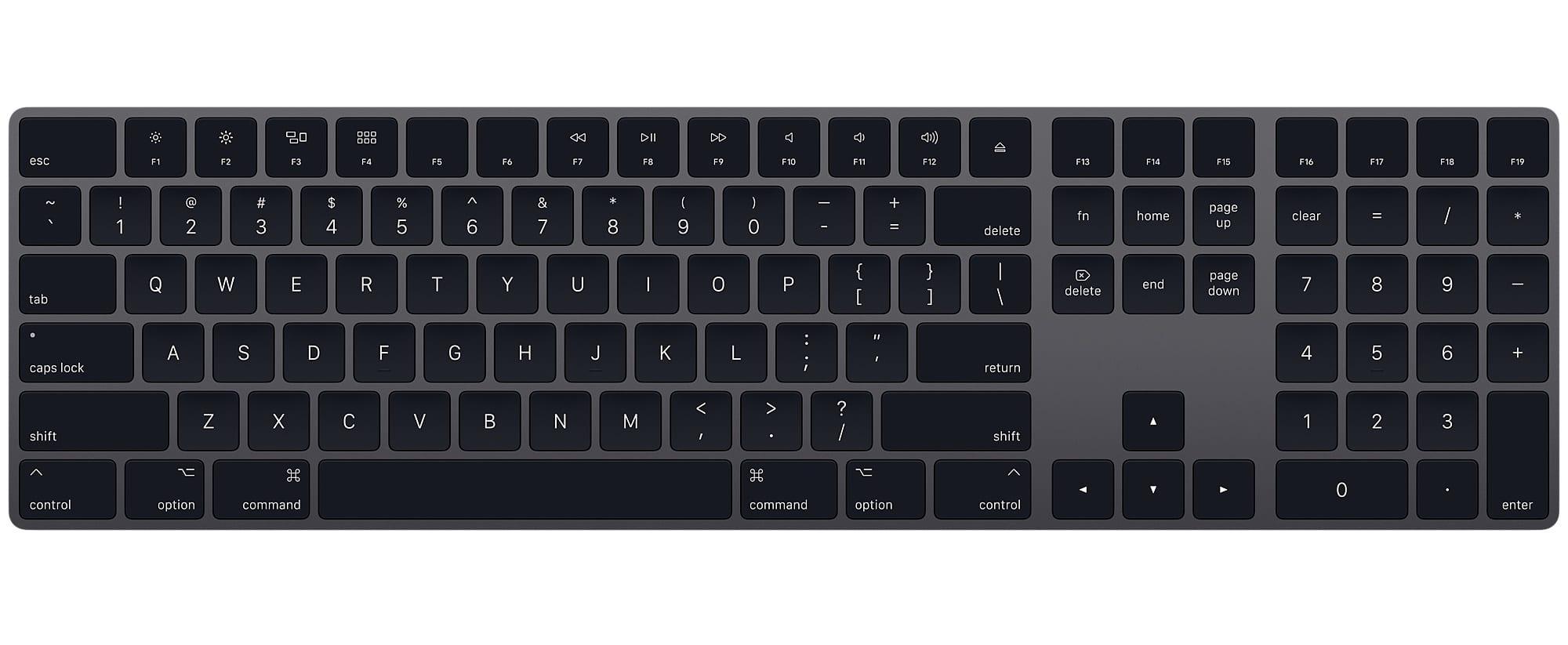 apple magic keyboard space gray - Apple začal prodávat černé příslušenství pro iMac Pro zvlášť