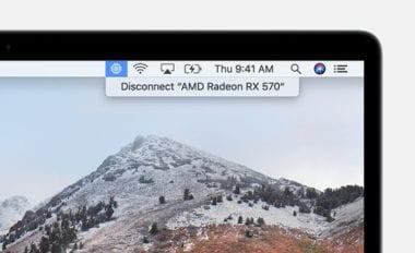 macos high sierra macbook egpu disconnect status bar 380x232 - Apple zverejnil zoznam podporovaných grafických kariet pre eGPU funkcionalitu v High Sierra