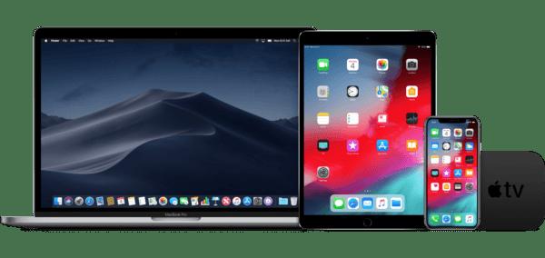 macos mojave ios 12 macbook ipad iphone appletv devices 600x284 - macOS Mojave, iOS 12 a ďalšie systémy testujú 4 milióny užívateľov