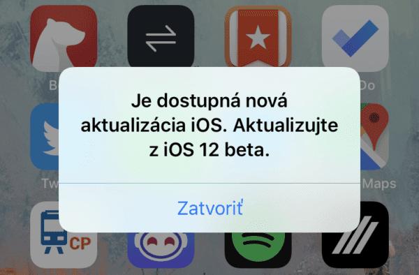 ios12 beta popup crop 600x394 - Najnovšia beta iOS 12 otravuje s falošnými hláškami o aktualizácii