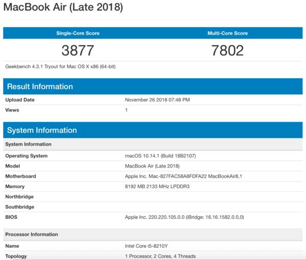 MacBook Air Late 2018 Benchmark