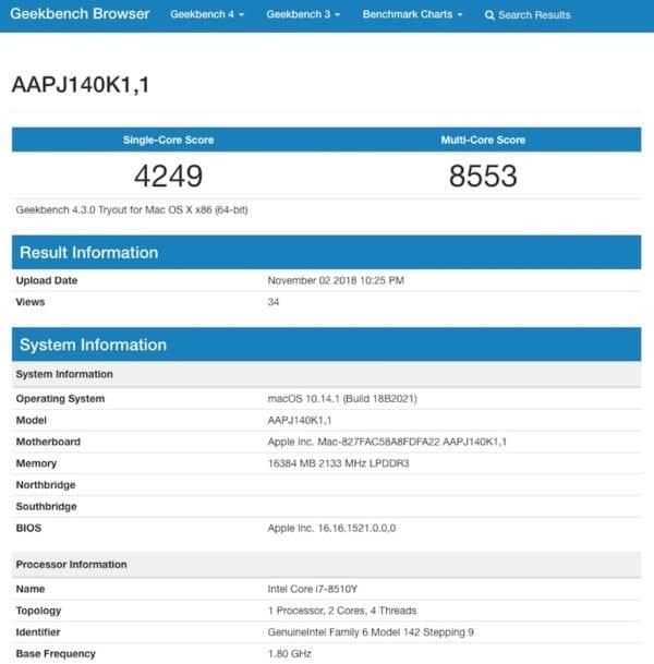 MacBook Air Core i7 Geekbench