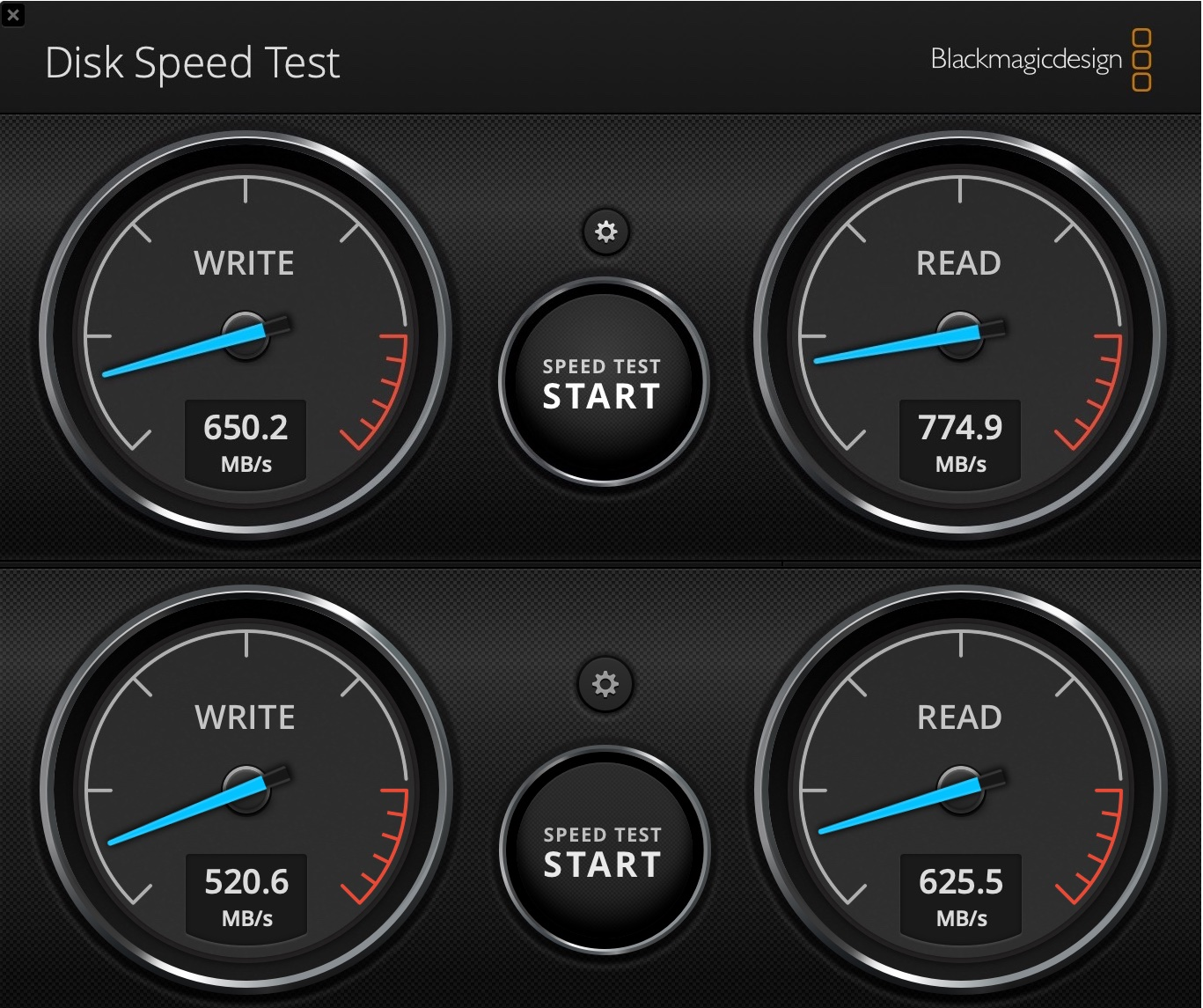 DiskSpeedTest Transcend External 1 - Recenzia Transcend JetDrive 855: jednoduchý upgrade SSD v Macu