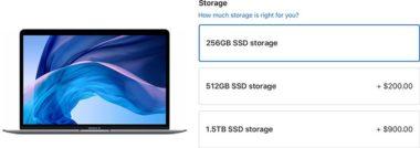 macbookairssdcost 800x283 380x134 - Apple kromě snížení ceny upgradů SSD disků u MacBooků Pro snížil i ceny upgradů u MacBooku Air, Macu Mini a Macu Pro