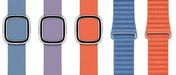 spring leather bands 600x258 - Další novinkou představenou tento týden jsou nové Apple Watch řemínky a kryty
