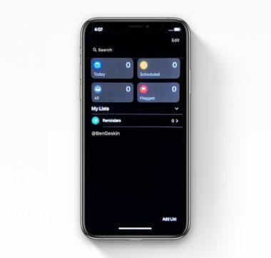 ios 13 reminders app dark mode leak 2 1 380x362 - Jen pár hodin před úvodní WWDC prezentací se objevil další leak iOS 13