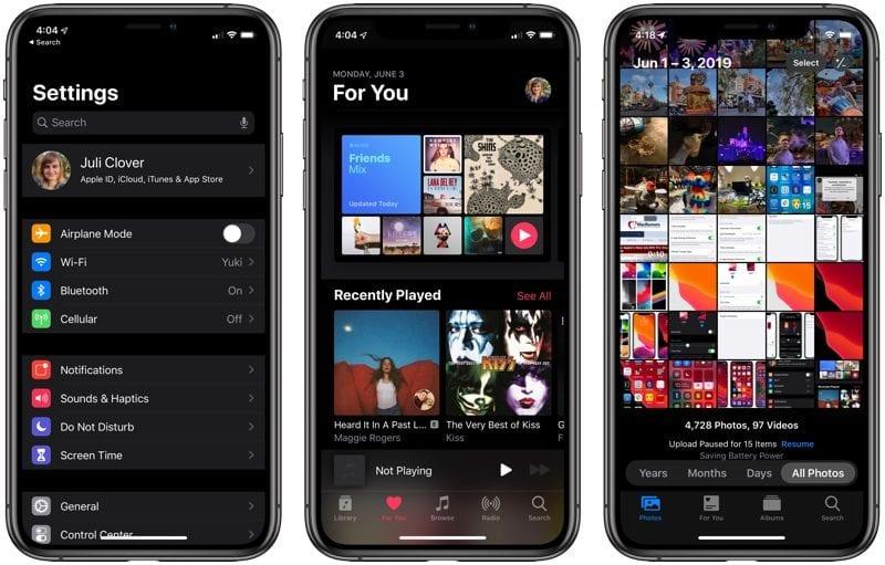 darkmodesettingsmusicphotos 800x511 - Apple vydal štvrtú beta verziu iOS 13 a iPadOS