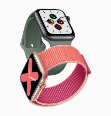 Apple watch series 5 gold aluminum case pomegranate band and space gray aluminum case pine green band 091019 380x395 - Z histórie Apple: Apple Watch (1. časť)